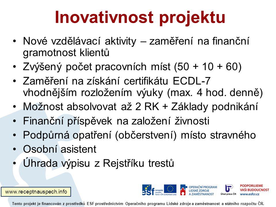 Inovativnost projektu Nové vzdělávací aktivity – zaměření na finanční gramotnost klientů Zvýšený počet pracovních míst (50 + 10 + 60) Zaměření na získání certifikátu ECDL-7 vhodnějším rozložením výuky (max.