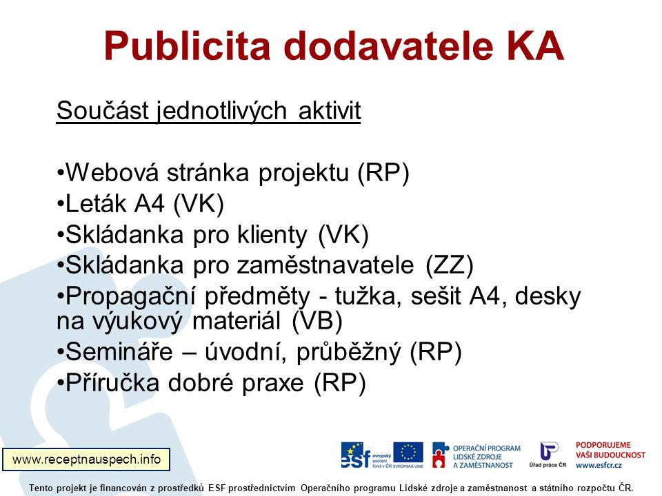 Publicita dodavatele KA Tento projekt je financován z prostředků ESF prostřednictvím Operačního programu Lidské zdroje a zaměstnanost a státního rozpočtu ČR.