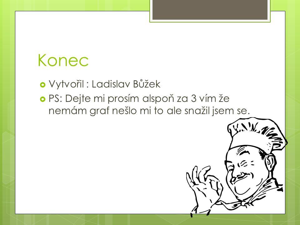 Konec  Vytvořil : Ladislav Bůžek  PS: Dejte mi prosím alspoň za 3 vím že nemám graf nešlo mi to ale snažil jsem se.