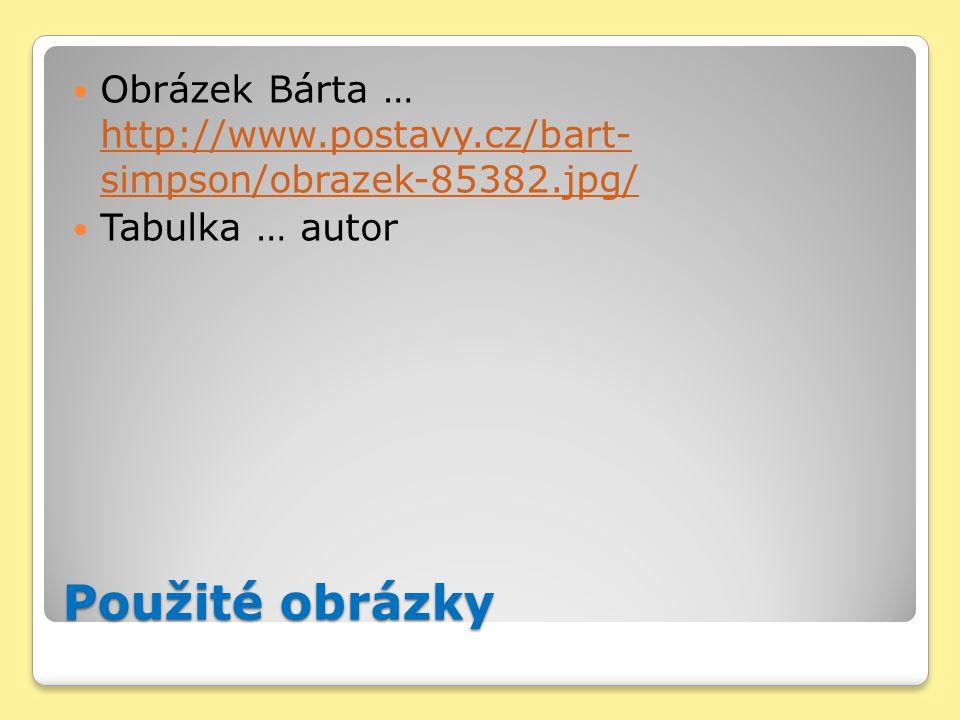 Použité obrázky Obrázek Bárta … http://www.postavy.cz/bart- simpson/obrazek-85382.jpg/ http://www.postavy.cz/bart- simpson/obrazek-85382.jpg/ Tabulka