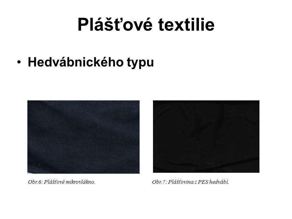 Plášťové textilie Hedvábnického typu Obr.6: Plášťové mikrovlákno. Obr.7: Plášťovina z PES hedvábí.