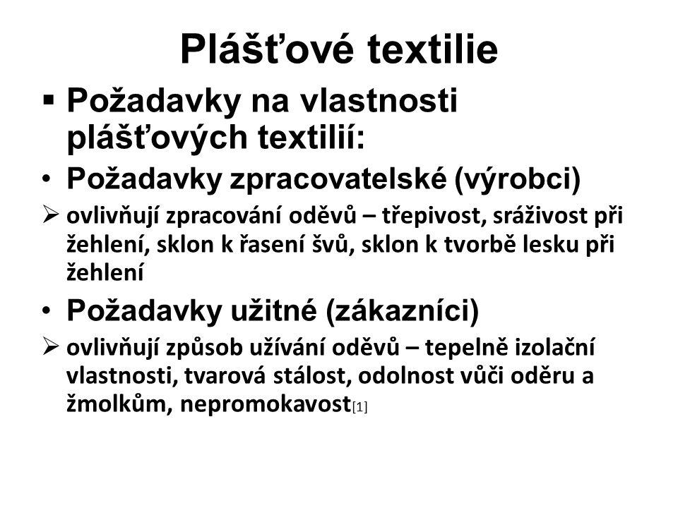 Plášťové textilie  Požadavky na vlastnosti plášťových textilií: Požadavky zpracovatelské (výrobci)  ovlivňují zpracování oděvů – třepivost, sráživost při žehlení, sklon k řasení švů, sklon k tvorbě lesku při žehlení Požadavky užitné (zákazníci)  ovlivňují způsob užívání oděvů – tepelně izolační vlastnosti, tvarová stálost, odolnost vůči oděru a žmolkům, nepromokavost [1]