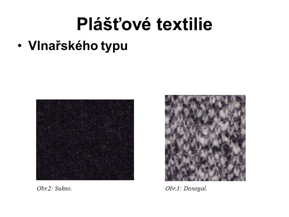 Plášťové textilie Vlnařského typu Obr.2: Sukno. Obr.3: Donegal.