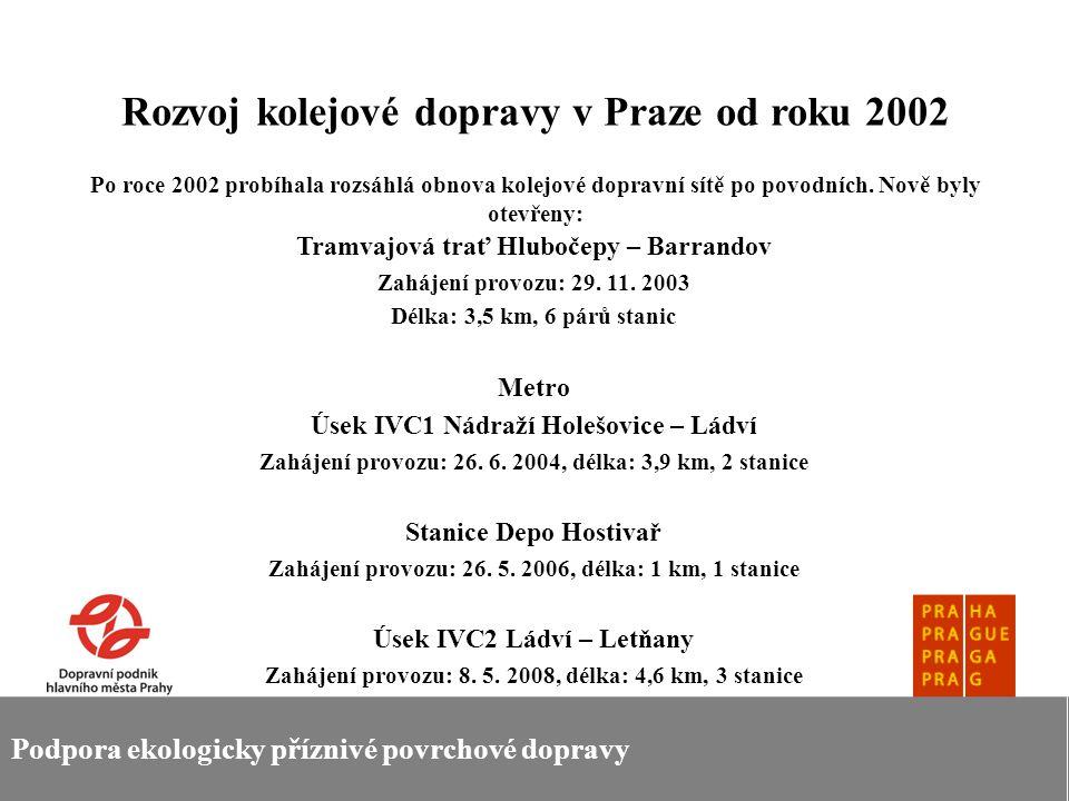 Podpora ekologicky příznivé povrchové dopravy Rozvoj kolejové dopravy v Praze od roku 2002 Po roce 2002 probíhala rozsáhlá obnova kolejové dopravní sí