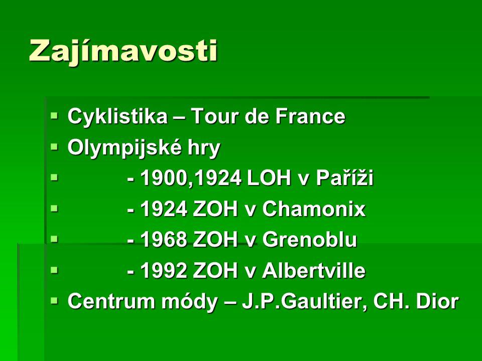 Zajímavosti  Cyklistika – Tour de France  Olympijské hry  - 1900,1924 LOH v Paříži  - 1924 ZOH v Chamonix  - 1968 ZOH v Grenoblu  - 1992 ZOH v Albertville  Centrum módy – J.P.Gaultier, CH.