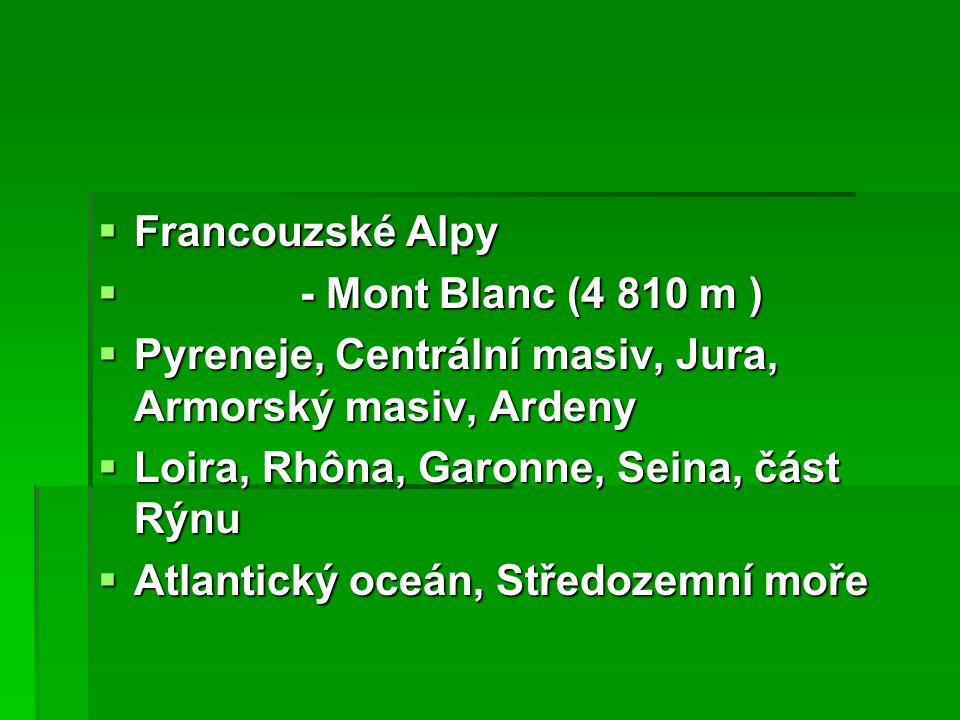  Francouzské Alpy  - Mont Blanc (4 810 m )  Pyreneje, Centrální masiv, Jura, Armorský masiv, Ardeny  Loira, Rhôna, Garonne, Seina, část Rýnu  Atlantický oceán, Středozemní moře