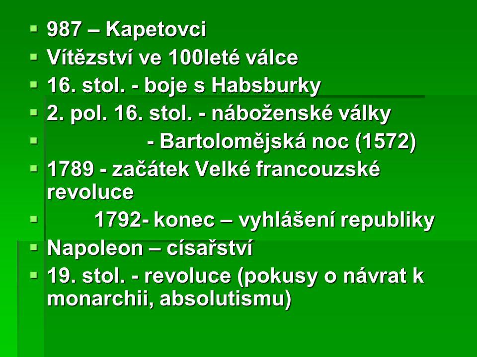  987 – Kapetovci  Vítězství ve 100leté válce  16.