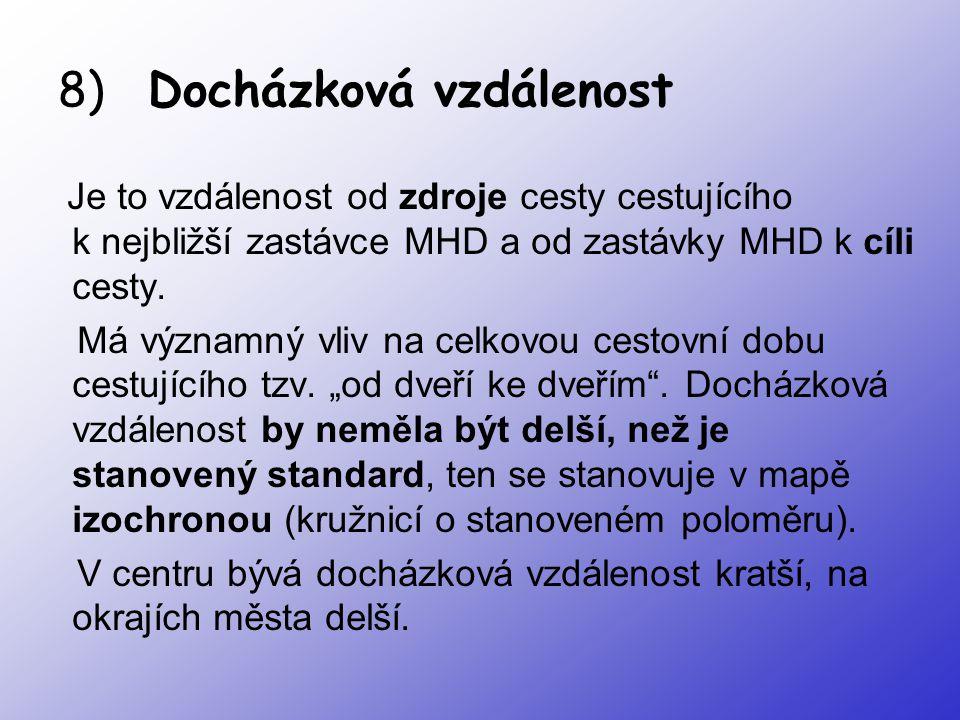 8) Docházková vzdálenost Je to vzdálenost od zdroje cesty cestujícího k nejbližší zastávce MHD a od zastávky MHD k cíli cesty. Má významný vliv na cel