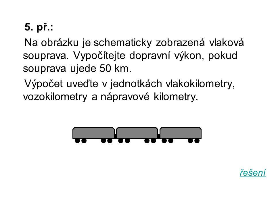 5. př.: Na obrázku je schematicky zobrazená vlaková souprava. Vypočítejte dopravní výkon, pokud souprava ujede 50 km. Výpočet uveďte v jednotkách vlak