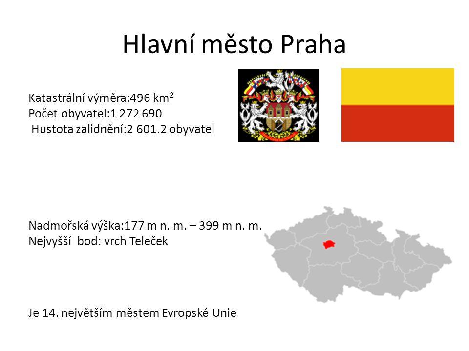 Hlavní město Praha Katastrální výměra:496 km² Počet obyvatel:1 272 690 Hustota zalidnění:2 601.2 obyvatel Nadmořská výška:177 m n. m. – 399 m n. m. Ne