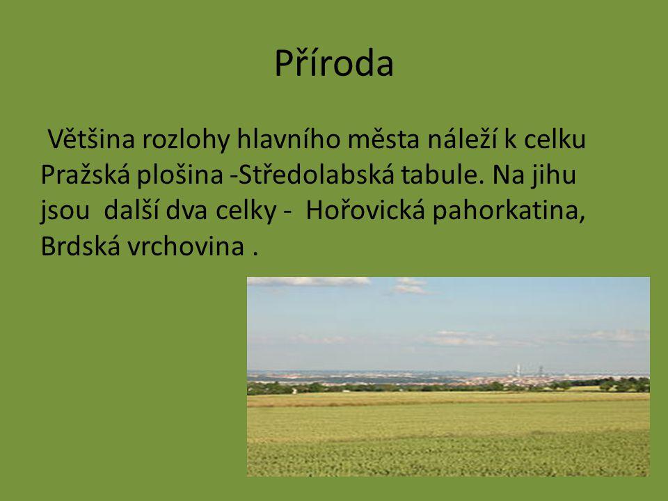 Příroda Většina rozlohy hlavního města náleží k celku Pražská plošina -Středolabská tabule. Na jihu jsou další dva celky - Hořovická pahorkatina, Brds