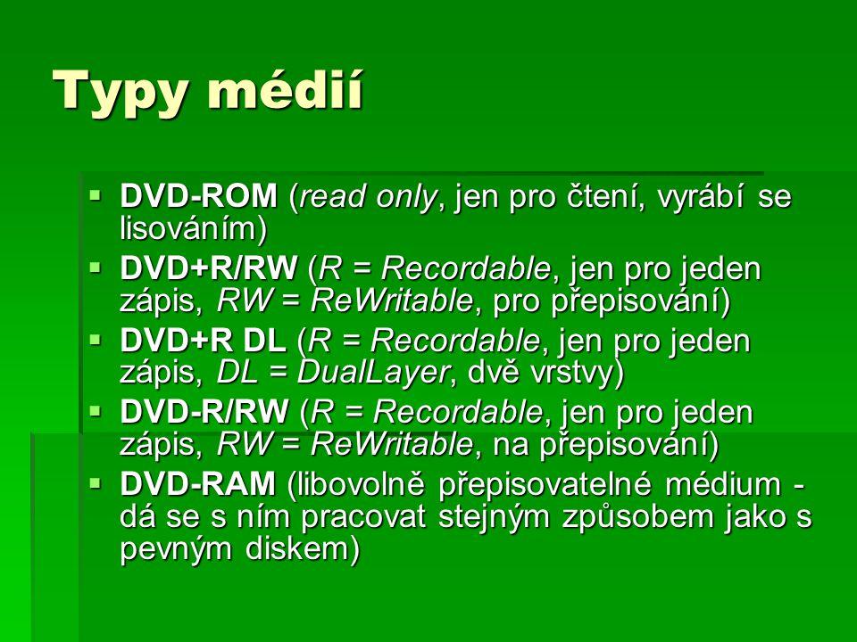 Typy médií  DVD-ROM (read only, jen pro čtení, vyrábí se lisováním)  DVD+R/RW (R = Recordable, jen pro jeden zápis, RW = ReWritable, pro přepisování)  DVD+R DL (R = Recordable, jen pro jeden zápis, DL = DualLayer, dvě vrstvy)  DVD-R/RW (R = Recordable, jen pro jeden zápis, RW = ReWritable, na přepisování)  DVD-RAM (libovolně přepisovatelné médium - dá se s ním pracovat stejným způsobem jako s pevným diskem)