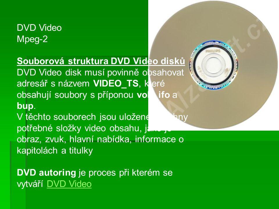 DVD Video Mpeg-2 Souborová struktura DVD Video disků DVD Video disk musí povinně obsahovat adresář s názvem VIDEO_TS, které obsahují soubory s příponou vob, ifo a bup.