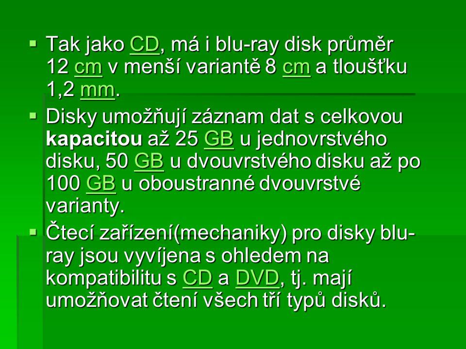  Tak jako CD, má i blu-ray disk průměr 12 cm v menší variantě 8 cm a tloušťku 1,2 mm. CDcm mmCDcm mm  Disky umožňují záznam dat s celkovou kapacitou