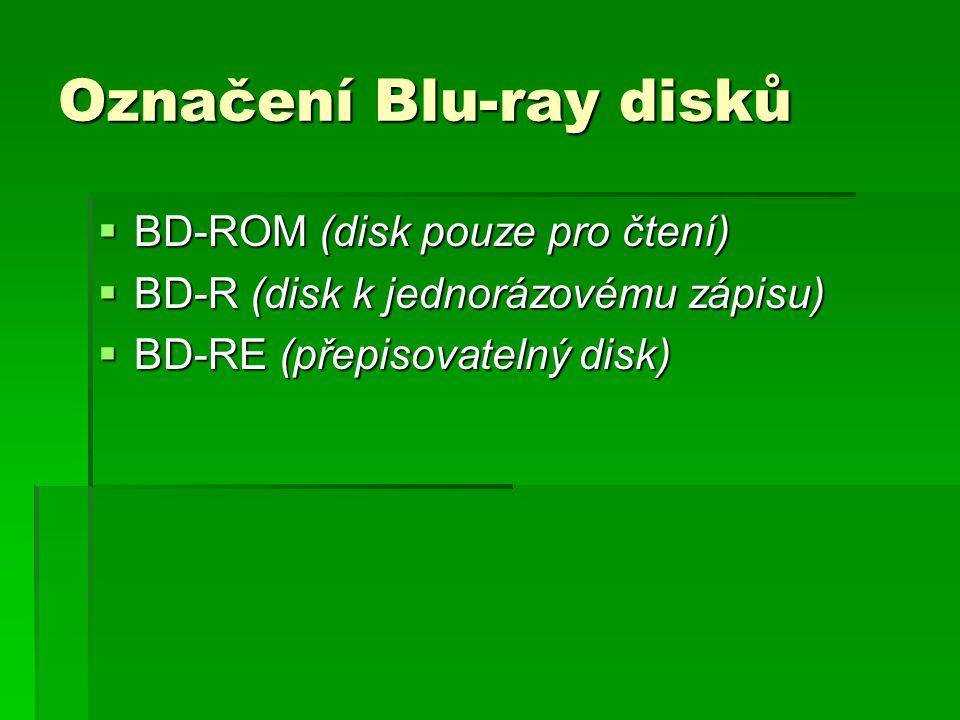 Označení Blu-ray disků  BD-ROM (disk pouze pro čtení)  BD-R (disk k jednorázovému zápisu)  BD-RE (přepisovatelný disk)
