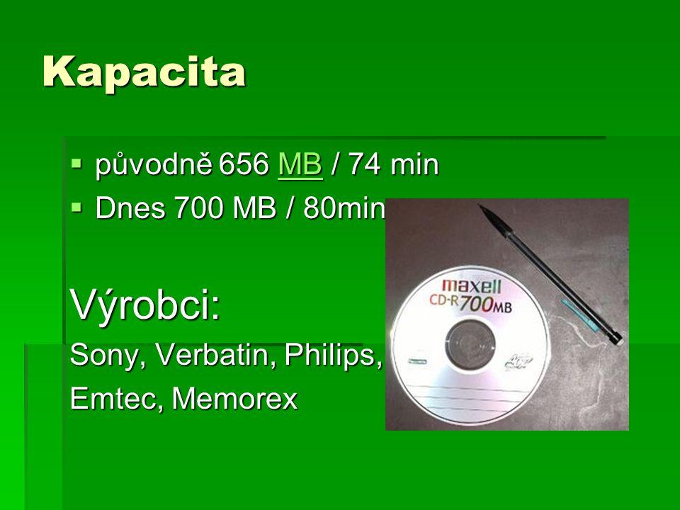 Kapacita  původně 656 MB / 74 min MB  Dnes 700 MB / 80min Výrobci: Sony, Verbatin, Philips, Emtec, Memorex