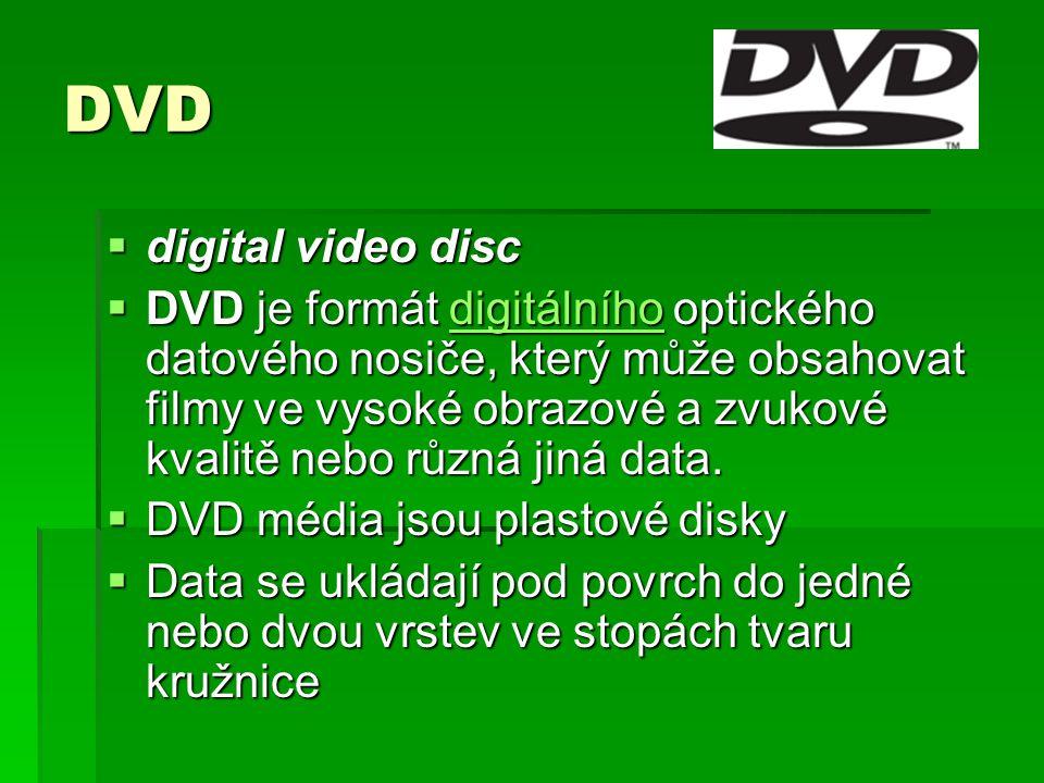 DVD  digital video disc  DVD je formát digitálního optického datového nosiče, který může obsahovat filmy ve vysoké obrazové a zvukové kvalitě nebo různá jiná data.