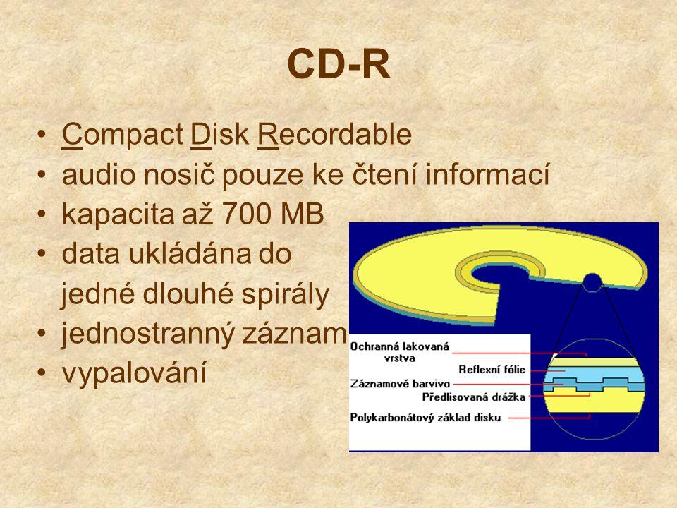 CD-R Compact Disk Recordable audio nosič pouze ke čtení informací kapacita až 700 MB data ukládána do jedné dlouhé spirály jednostranný záznam vypalov