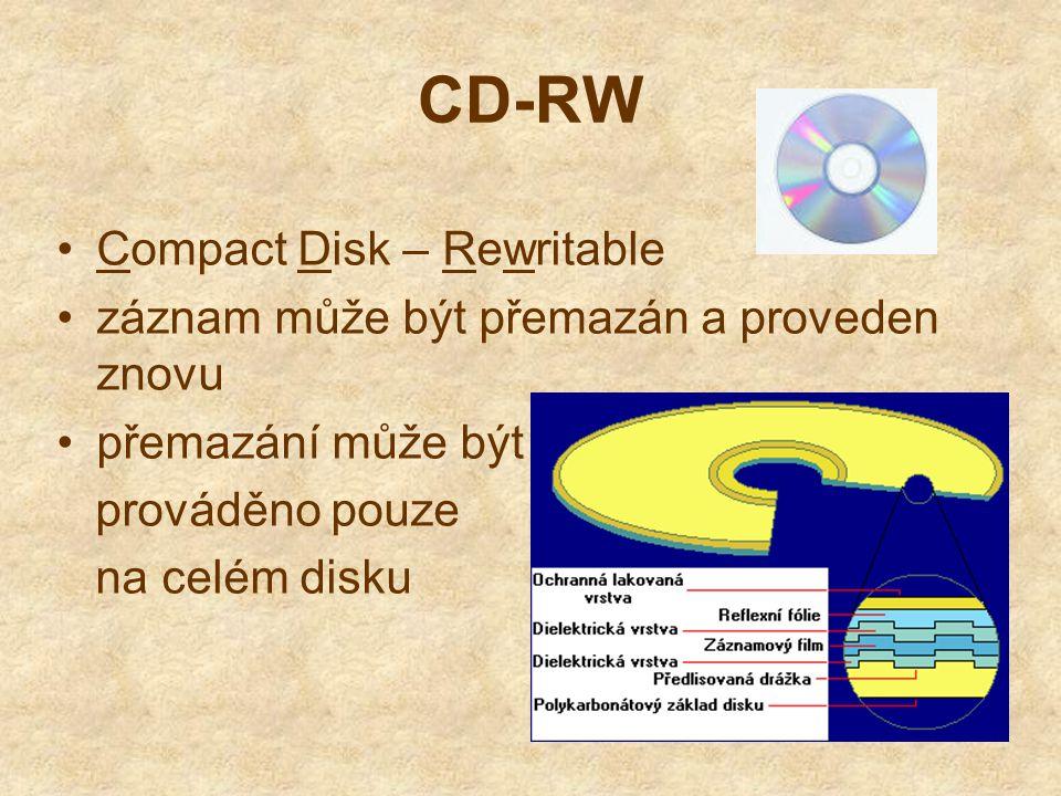 CD-RW Compact Disk – Rewritable záznam může být přemazán a proveden znovu přemazání může být prováděno pouze na celém disku