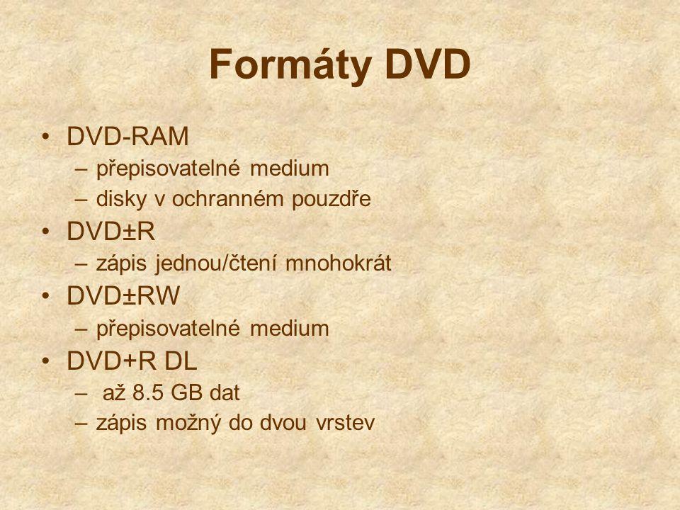 Formáty DVD DVD-RAM –přepisovatelné medium –disky v ochranném pouzdře DVD±R –zápis jednou/čtení mnohokrát DVD±RW –přepisovatelné medium DVD+R DL – až