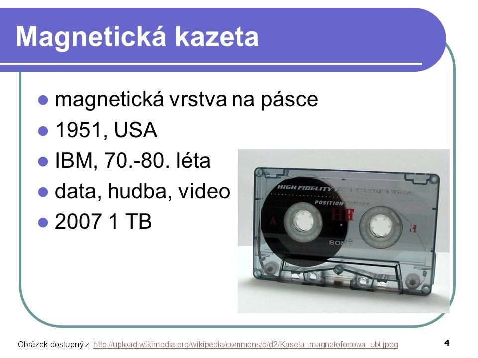 4 Magnetická kazeta magnetická vrstva na pásce 1951, USA IBM, 70.-80. léta data, hudba, video 2007 1 TB Obrázek dostupný z http://upload.wikimedia.org