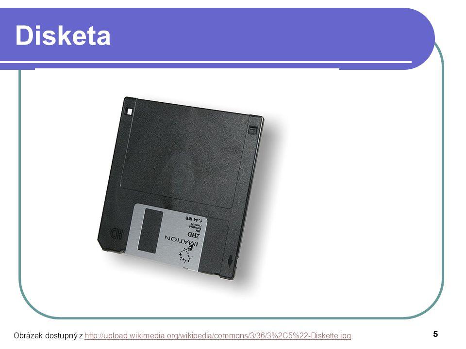 """5 Disketa magnetická paměť mechanika, kapacita, životnost 1970, IBM 5,25"""" 720 kB, 3,5"""" 1,44 MB 90. léta ZIP disketa 750 MB Obrázek dostupný z http://u"""