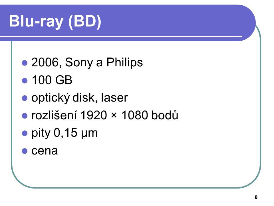 8 Blu-ray (BD) 2006, Sony a Philips 100 GB optický disk, laser rozlišení 1920 × 1080 bodů pity 0,15 μm cena