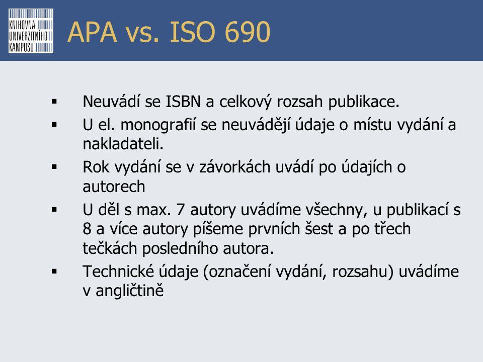 APA vs. ISO 690  Neuvádí se ISBN a celkový rozsah publikace.  U el. monografií se neuvádějí údaje o místu vydání a nakladateli.  Rok vydání se v zá