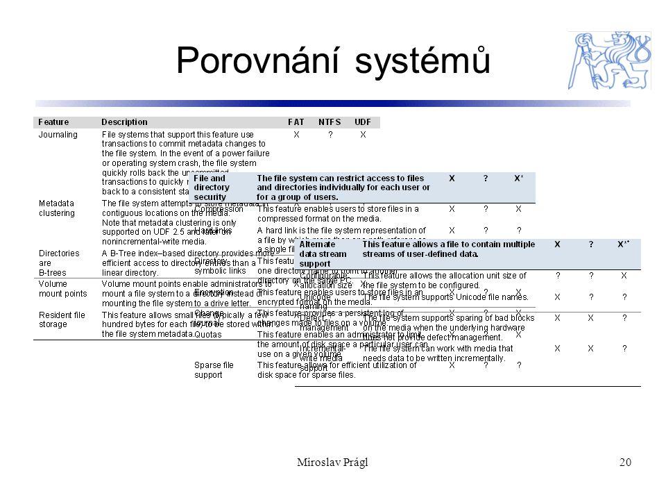 20 Porovnání systémů Miroslav Prágl