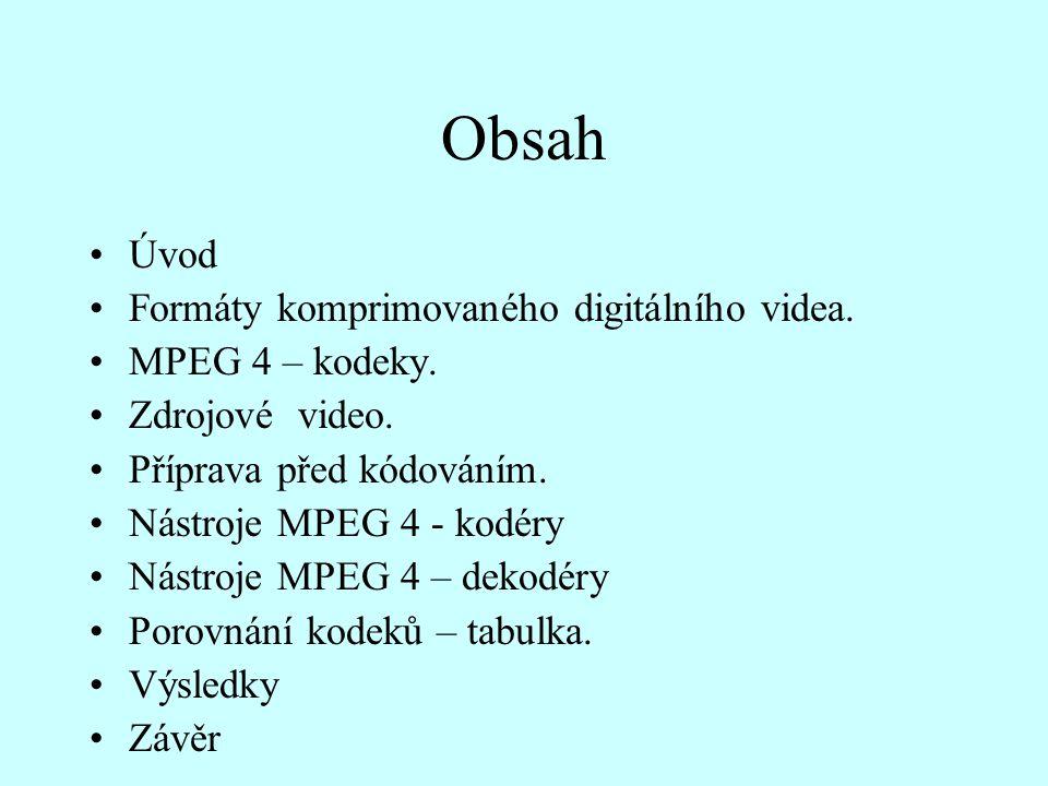 Obsah Úvod Formáty komprimovaného digitálního videa. MPEG 4 – kodeky. Zdrojové video. Příprava před kódováním. Nástroje MPEG 4 - kodéry Nástroje MPEG