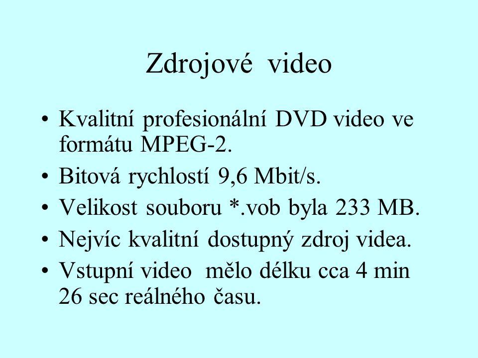 Zdrojové video Kvalitní profesionální DVD video ve formátu MPEG-2. Bitová rychlostí 9,6 Mbit/s. Velikost souboru *.vob byla 233 MB. Nejvíc kvalitní do