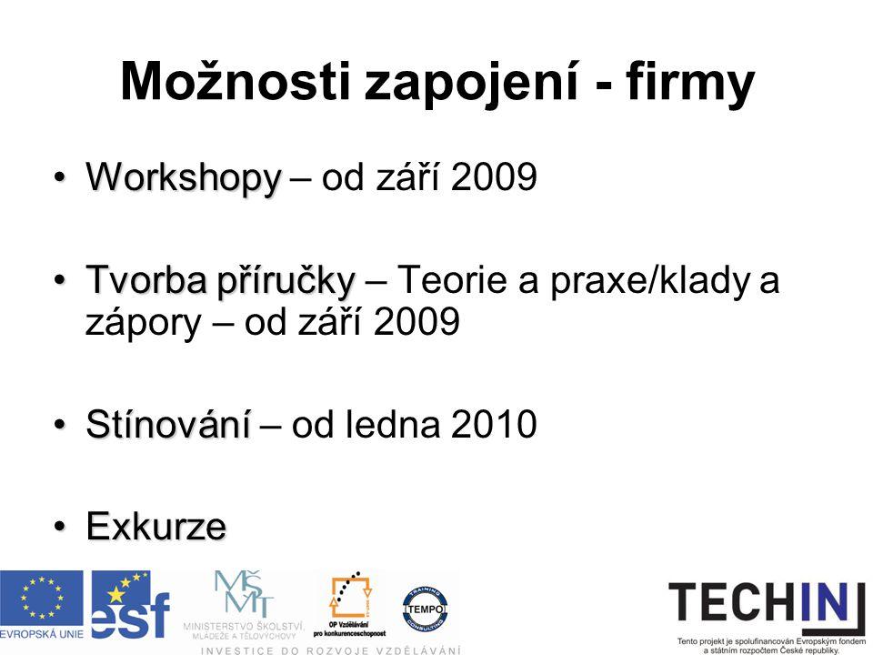 Možnosti zapojení - firmy WorkshopyWorkshopy – od září 2009 Tvorba příručkyTvorba příručky – Teorie a praxe/klady a zápory – od září 2009 StínováníStínování – od ledna 2010 ExkurzeExkurze