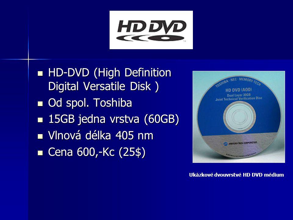 HD-DVD (High Definition Digital Versatile Disk ) HD-DVD (High Definition Digital Versatile Disk ) Od spol. Toshiba Od spol. Toshiba 15GB jedna vrstva