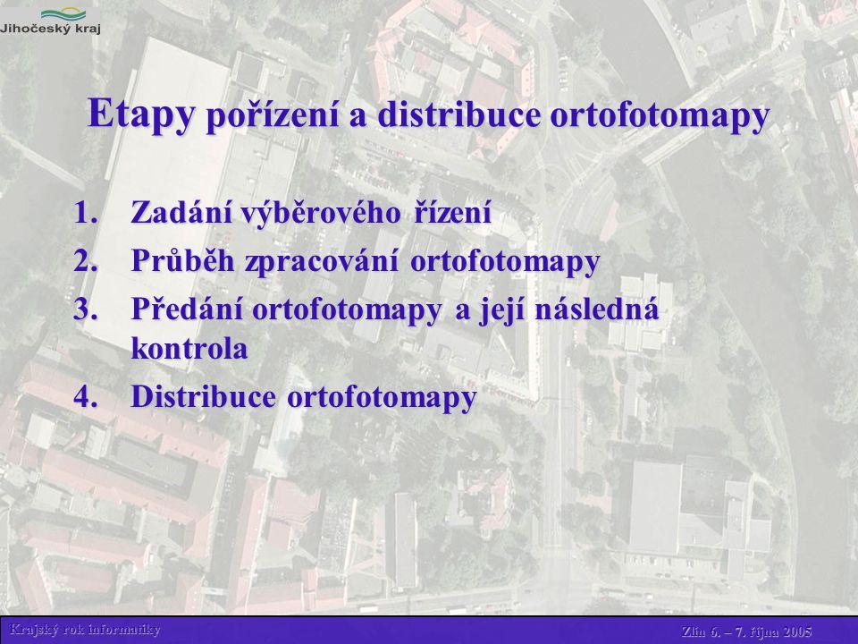 Etapy pořízení a distribuce ortofotomapy 1.Zadání výběrového řízení 2.Průběh zpracování ortofotomapy 3.Předání ortofotomapy a její následná kontrola 4.Distribuce ortofotomapy Krajský rok informatiky Zlín 6.