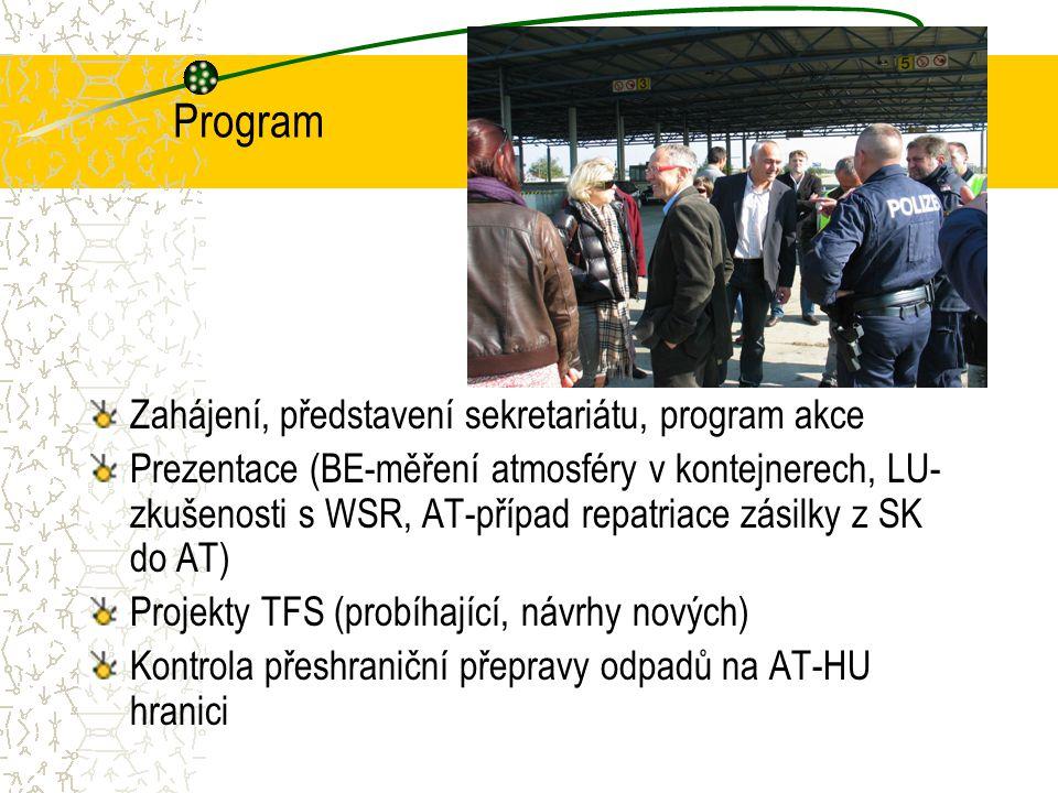Program Zahájení, představení sekretariátu, program akce Prezentace (BE-měření atmosféry v kontejnerech, LU- zkušenosti s WSR, AT-případ repatriace zá