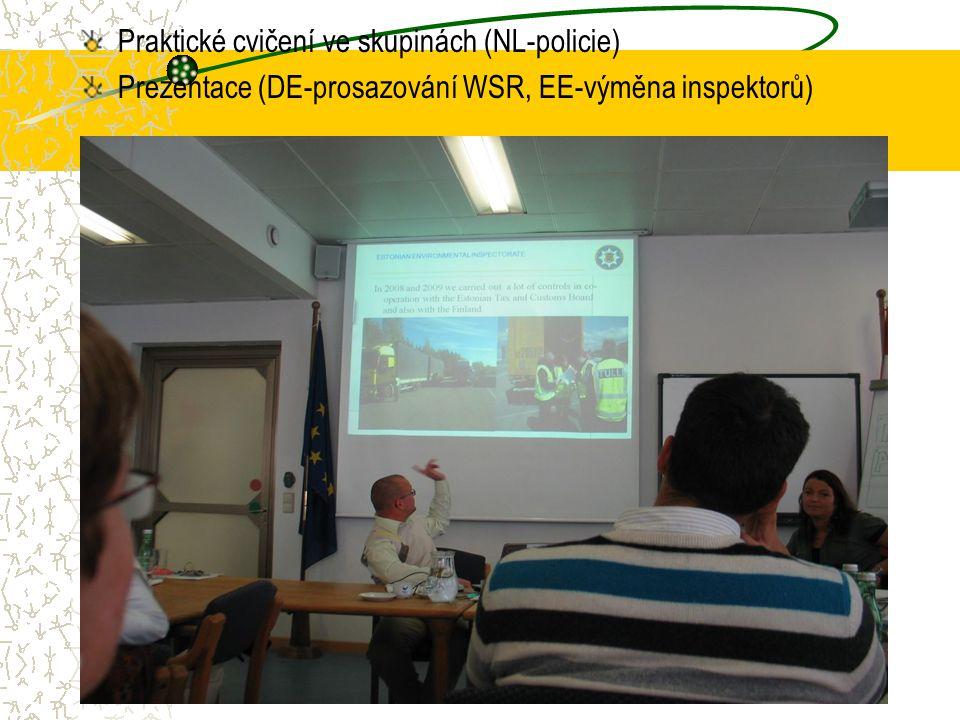 Praktické cvičení ve skupinách (NL-policie) Prezentace (DE-prosazování WSR, EE-výměna inspektorů)