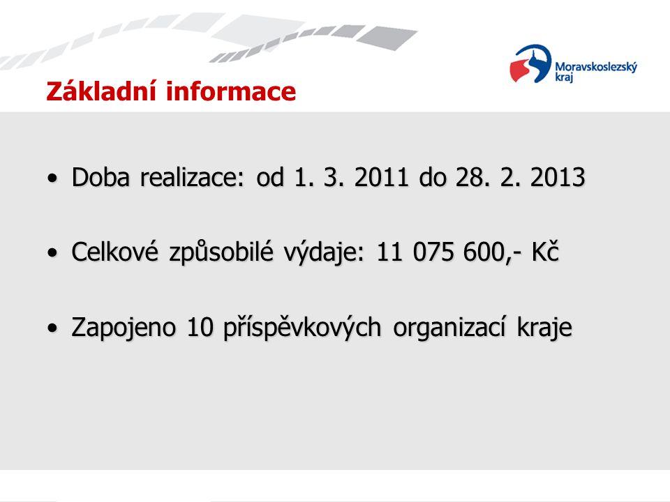 Základní informace Doba realizace: od 1. 3. 2011 do 28. 2. 2013Doba realizace: od 1. 3. 2011 do 28. 2. 2013 Celkové způsobilé výdaje: 11 075 600,- KčC