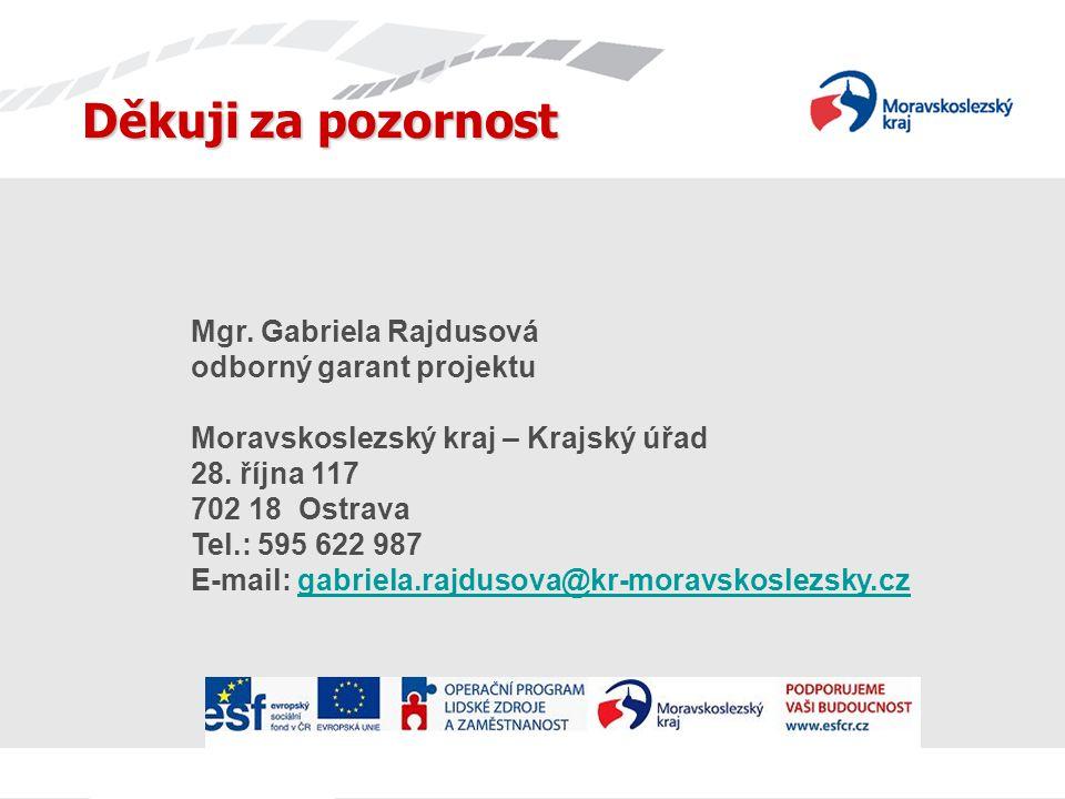 Děkuji za pozornost Mgr. Gabriela Rajdusová odborný garant projektu Moravskoslezský kraj – Krajský úřad 28. října 117 702 18 Ostrava Tel.: 595 622 987