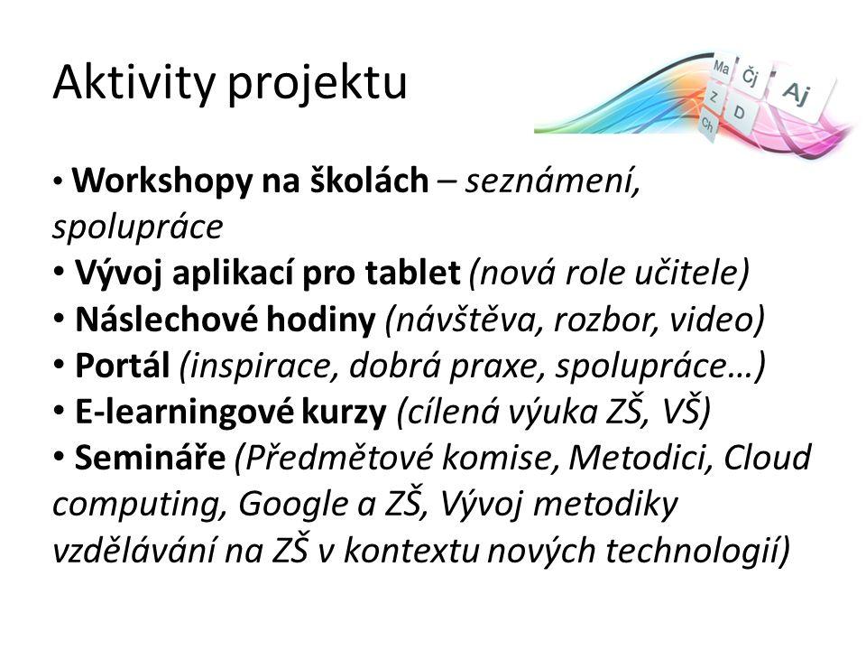 Aktivity projektu Workshopy na školách – seznámení, spolupráce Vývoj aplikací pro tablet (nová role učitele) Náslechové hodiny (návštěva, rozbor, video) Portál (inspirace, dobrá praxe, spolupráce…) E-learningové kurzy (cílená výuka ZŠ, VŠ) Semináře (Předmětové komise, Metodici, Cloud computing, Google a ZŠ, Vývoj metodiky vzdělávání na ZŠ v kontextu nových technologií)