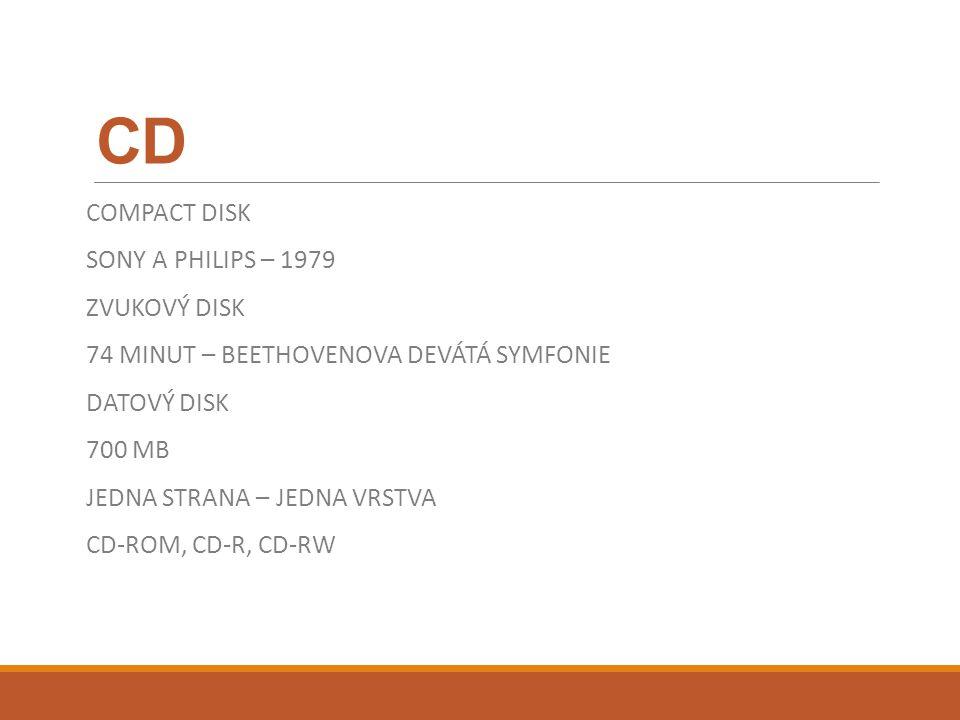 CD COMPACT DISK SONY A PHILIPS – 1979 ZVUKOVÝ DISK 74 MINUT – BEETHOVENOVA DEVÁTÁ SYMFONIE DATOVÝ DISK 700 MB JEDNA STRANA – JEDNA VRSTVA CD-ROM, CD-R