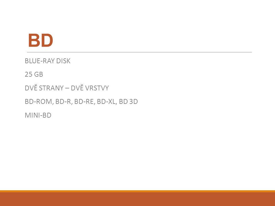 BD BLUE-RAY DISK 25 GB DVĚ STRANY – DVĚ VRSTVY BD-ROM, BD-R, BD-RE, BD-XL, BD 3D MINI-BD