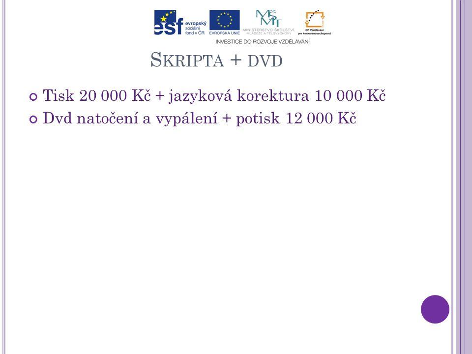 S KRIPTA + DVD Tisk 20 000 Kč + jazyková korektura 10 000 Kč Dvd natočení a vypálení + potisk 12 000 Kč