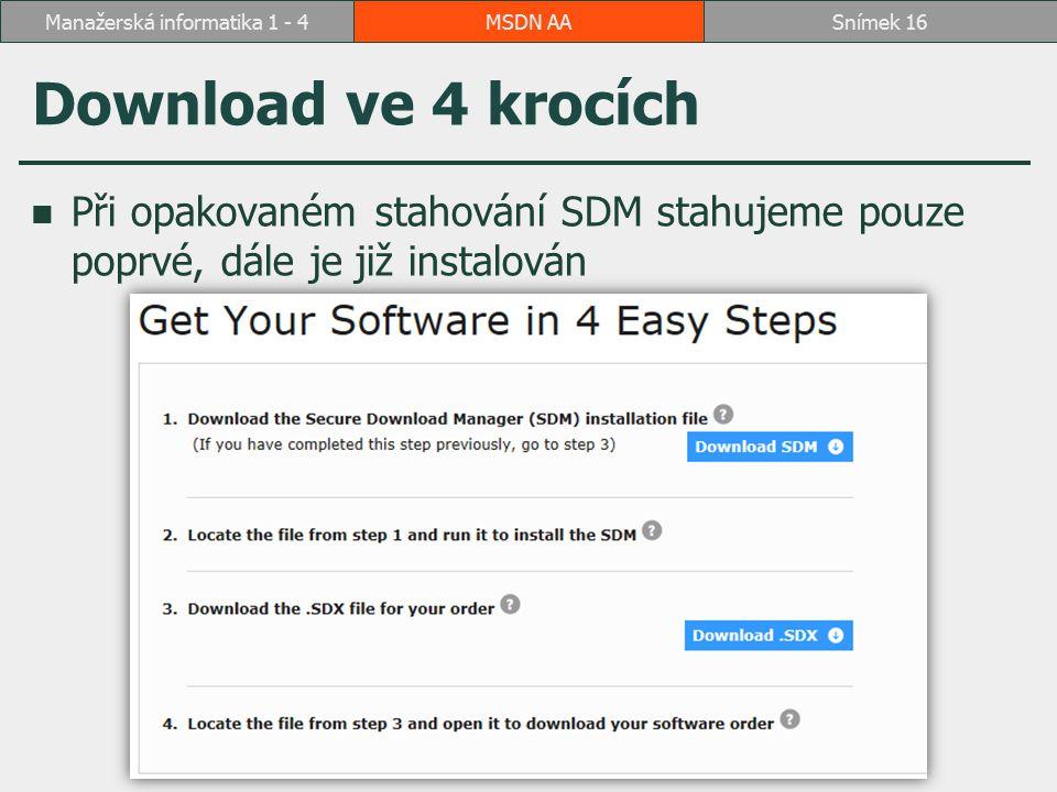 Download ve 4 krocích Při opakovaném stahování SDM stahujeme pouze poprvé, dále je již instalován MSDN AASnímek 16Manažerská informatika 1 - 4