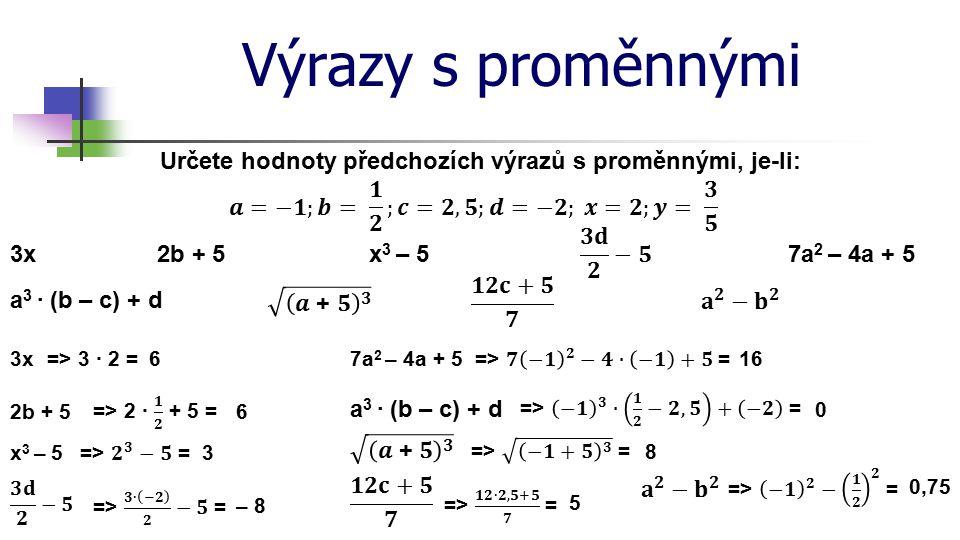 Výrazy s proměnnými Určete hodnoty předchozích výrazů s proměnnými, je-li: 2b + 53xx 3 – 57a 2 – 4a + 5 a 3 · (b – c) + d 3x=> 3 · 2 =6 2b + 56 x 3 – 53 – 8 7a 2 – 4a + 516 a 3 · (b – c) + d 0 8 5 0,75