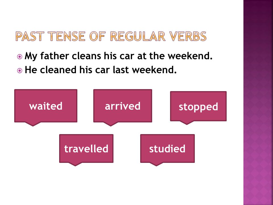  My father cleans his car at the weekend.  He cleaned his car last weekend.