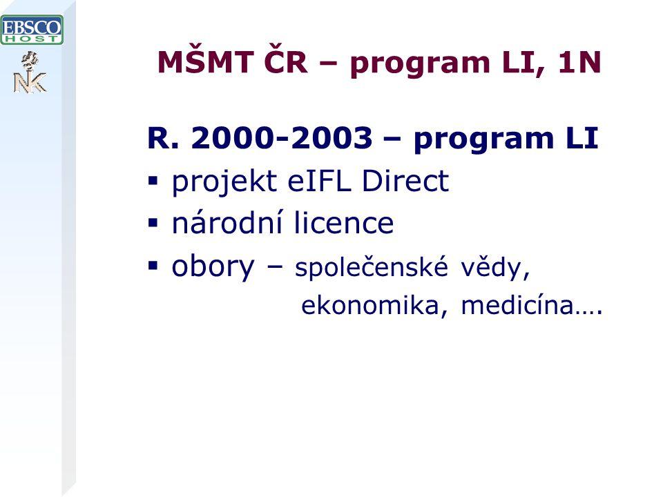 MŠMT ČR – program LI, 1N R.