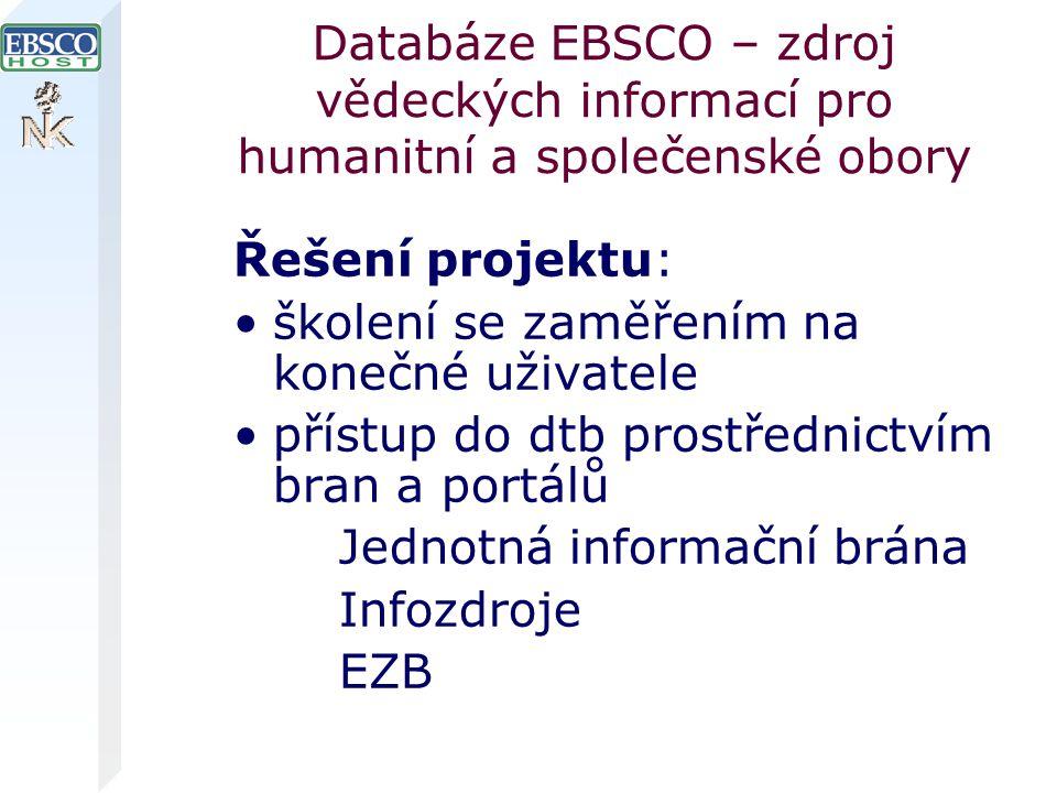 Databáze EBSCO – zdroj vědeckých informací pro humanitní a společenské obory Řešení projektu: školení se zaměřením na konečné uživatele přístup do dtb prostřednictvím bran a portálů Jednotná informační brána Infozdroje EZB