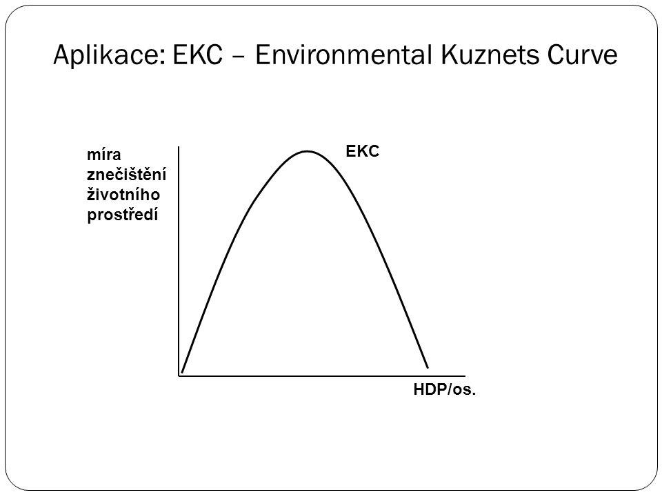 """Aplikace: EKC – Environmental Kuznets Curve  zobrazuje vztah mezi HDP/os. a mírou znečištění životního prostředí  tvar obráceného písmene """"U""""  vysv"""