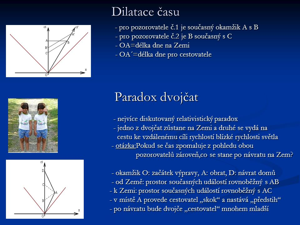 Dilatace času - pro pozorovatele č.1 je současný okamžik A s B - pro pozorovatele č.1 je současný okamžik A s B - pro pozorovatele č.2 je B současný s