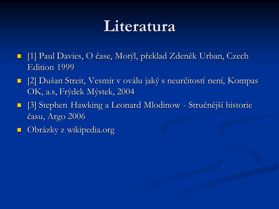 Literatura [1] Paul Davies, O čase, Motýl, překlad Zdeněk Urban, Czech Edition 1999 [1] Paul Davies, O čase, Motýl, překlad Zdeněk Urban, Czech Editio